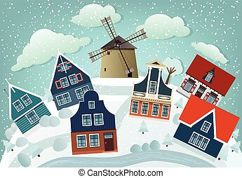 Dutch countryside (Winter) - Vector illustration of holland...