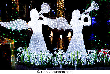 Christmas lights - garden decorated and lighted for...