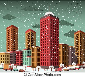 City in perspective (winter) - Vector illustration of city...