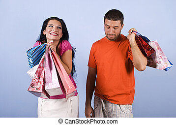Naughty and vanity woman with shopping bags - Naughty vanity...