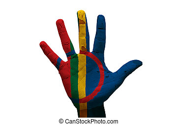 palm flag sami - man hand palm painted flag of sami people