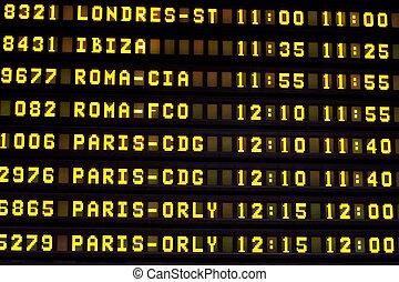 vuelo, Información, tabla