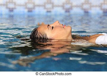 perfil, de, Um, beleza, relaxado, mulher, rosto, flutuante,...
