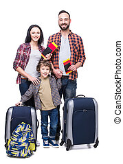 Travel - Happy family with luggage are ready to travel....