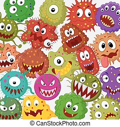Cartoon bacteria collection set - Vector illustration of...