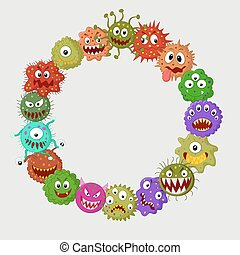 Cartoon germ colony - Vector illustration of Cartoon germ...