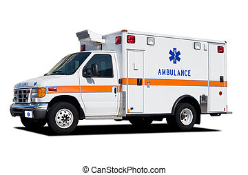 Ambulance - A Medical Ambulance Standing By and Isolated on...