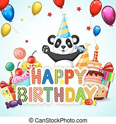 Birthday background, with happy car - Vector illustration of...
