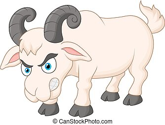 Angry cartoon goat - Vector illustration of Angry cartoon...