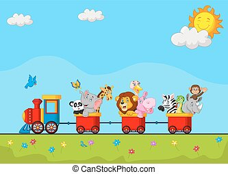Cute animal on train - Vector illustration of Cute animal on...
