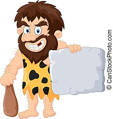 Caveman with stone tablet - Vector illustration of Caveman...