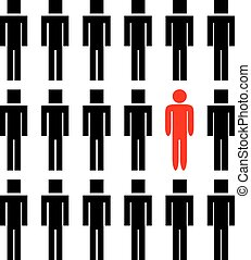 One different man among another people - One different red...
