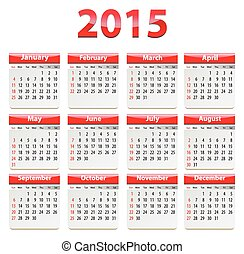2015 English calendar - Calendar for 2015 year in English...