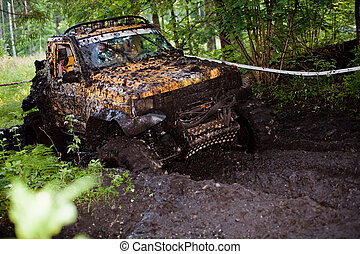 Off road truck in trial competition - Pickup 4x4 truck...