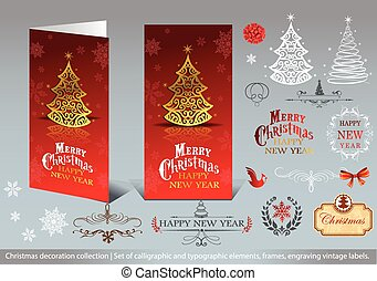 Greeting cards - Christmas decoration collection - Set of...