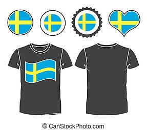 t-shirt with the flag of Sweden. vector illustration. 10 eps