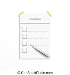 Notebook with to do list Lines with check boxes and pen...