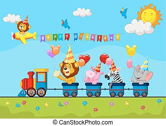 Birthday background with happy anim - Vector illustration of...