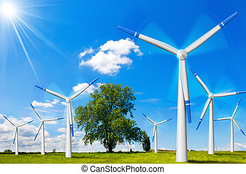 Electric Wind Generators in Countryside - Seven wind...