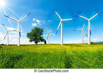 Electric Wind Generators in Countryside - Six wind turbines...