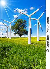 Electric Wind Generators in Countryside - Five wind turbines...