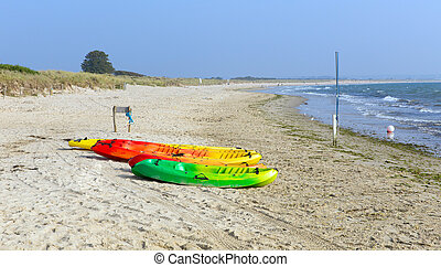 Canoes Studland knoll beach Dorset - Studland knoll beach...