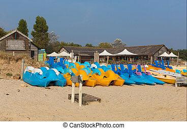 Canoës, et, pedalos, bleu, et, jaune,