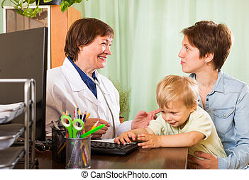 mother with baby listening friendly pediatrician doctor
