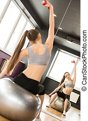 Fitness - Sport, fitness, lifestyle concept. Smiling woman...