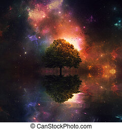 Night sky and tree - A single tree in the ocean before a...