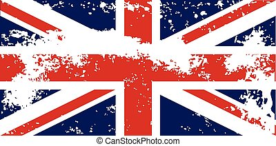 Union Jack Flag Grunge - The British Union Jack flag with a...