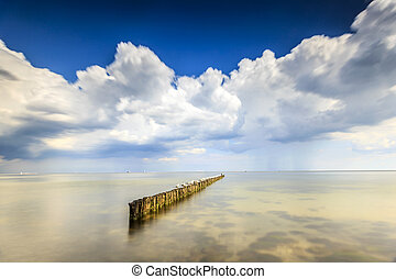 Minimalistic Seascape, Water, Breakwater, Sky