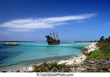 Caribbean Pirate Ship - A replica of an old ship in the...
