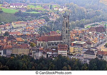 Cathedral of St Nicholas in Fribourg, Switzerland - Aerial...