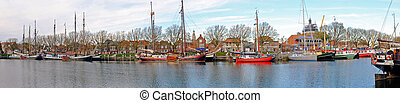 Panorama from the harbor in Enkhuizen Netherlands