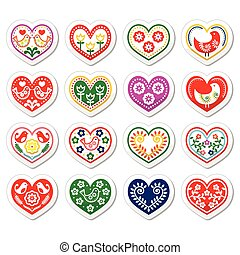 Folk hearts with flowers and birds - Vector icons set of...