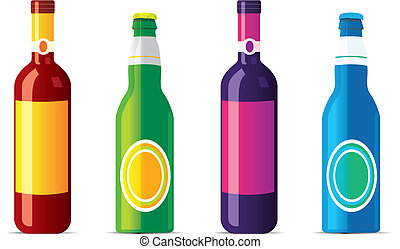 isolated alcohol bottles. No transparency and effects.