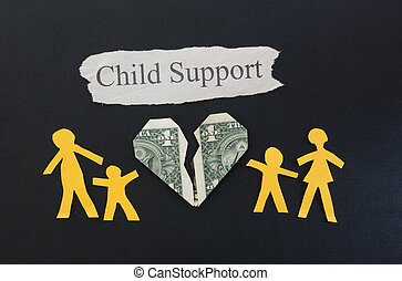 child support - paper family with broken money heart and...