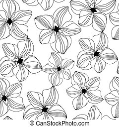 Seamless pattern with pink orchid, vector - Seamless pattern...