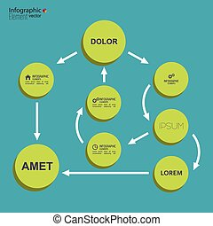 Corporate organization chart template with round elements....