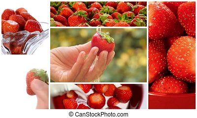 strawberries montage - collage including strawberries close...