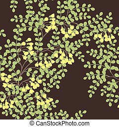 pattern with abstract leaves - Elegant seamless pattern with...