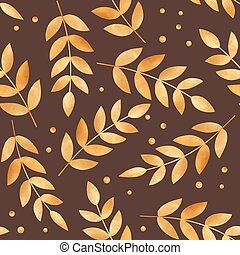 illustration with gold autumn leaves - Beautiful seamless...