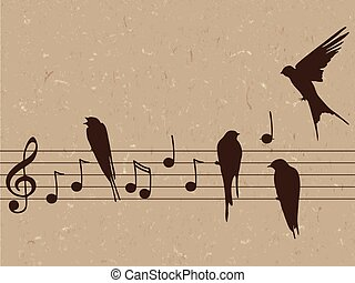 illustration of music notes with birds - Elegant abctract...