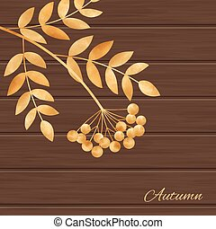 illustration with leaves and rowanberry - Beautiful...