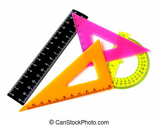 rulers set - colorful rulers set on white...