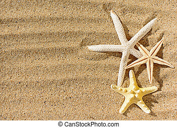 Starfishes with sand as background