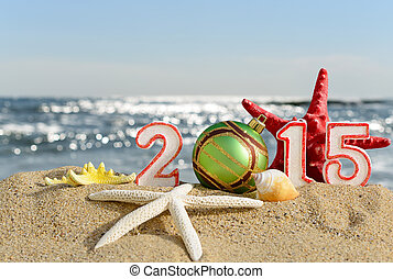 New year 2015 sign with seashells, starfish and christmas...