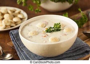 casero, nuevo, inglaterra, almeja, Sopa de pescado,