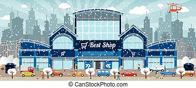 Shopping in the city (Winter) - Vector illustration of...